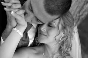 Romantic Black and white wedding portrait