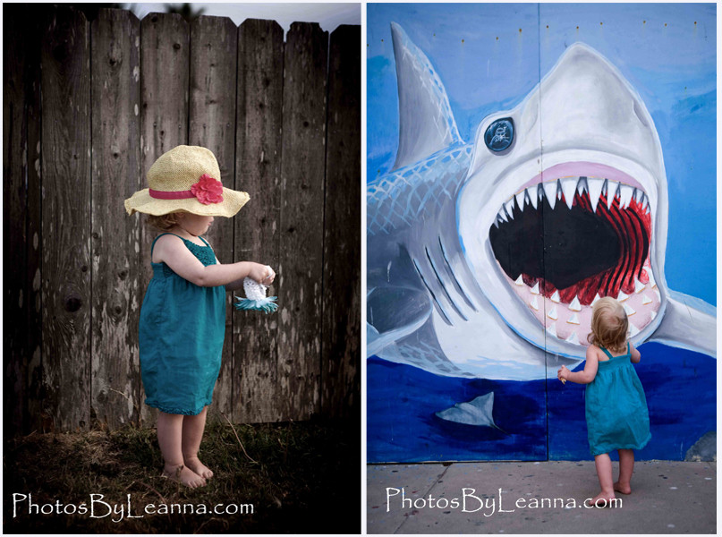 I can't believe Molly walked up to the shark mural and did exactly what I wanted!